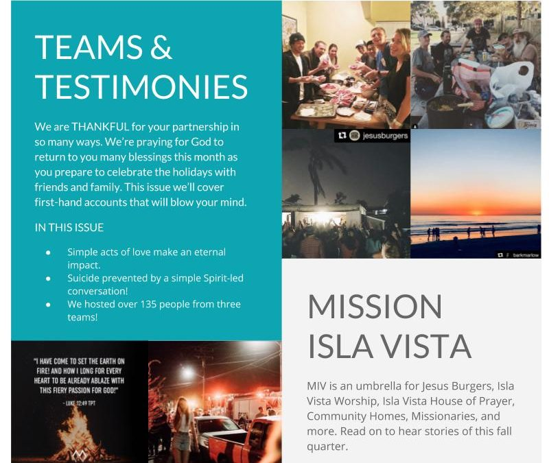 November 2017 – Teams and Testimony E-Newsletter