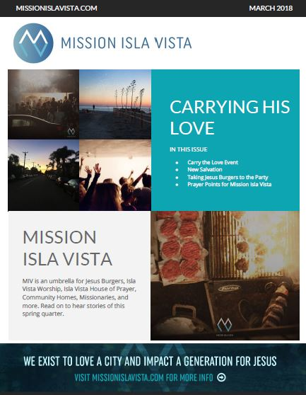 March 2018 – Carrying His Love E-Newsletter